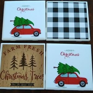 Coasters ceramic Set of 4 Red Christmas car